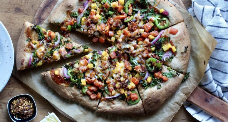 Bacon Kale Peach BBQ Pizza | sarahaasrdn.com