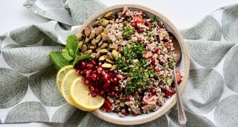 Pistachio Pomegranate Tahini Tabbouleh | sarahaasrdn.com