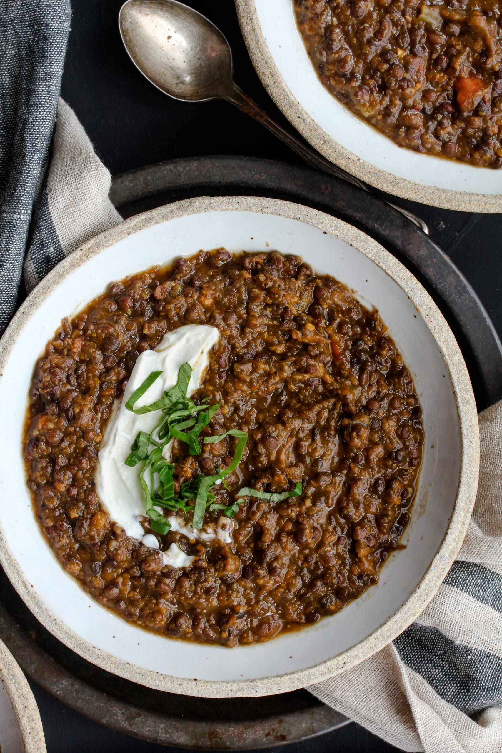 Black Lentil Sweet Potato Soup