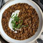 Black Lentil Sweet Potato Soup | sarahaasrdn.com