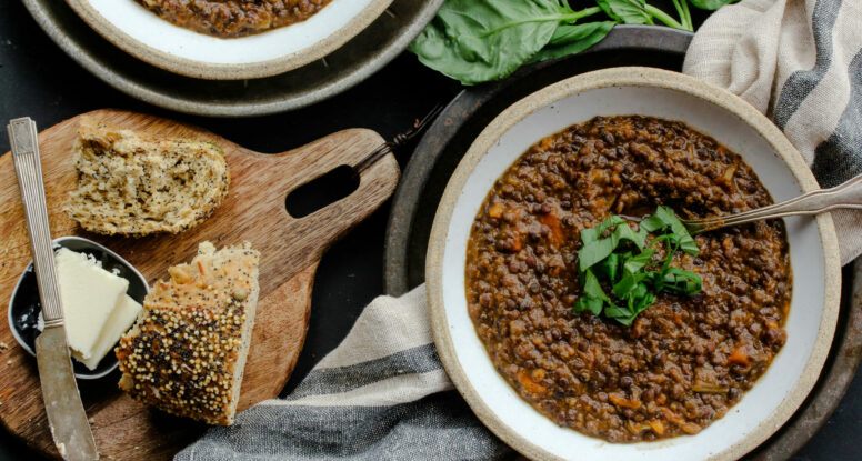Black Lentil Sweet Potato Soup