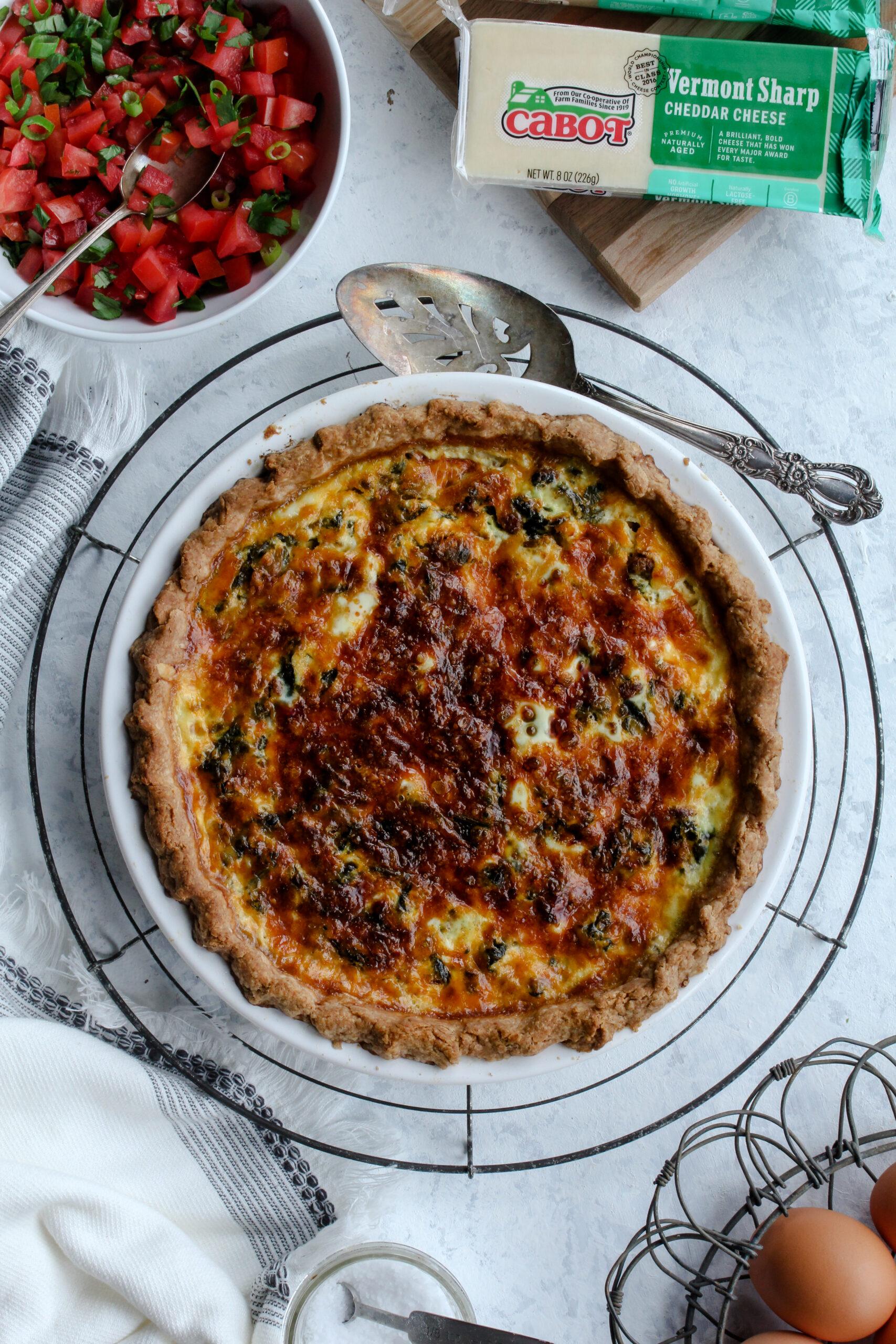 Cheddar Green Chile Chorizo Quiche | sarahaasrdn.com