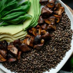 Roasted Mushroom Balsamic Lentils