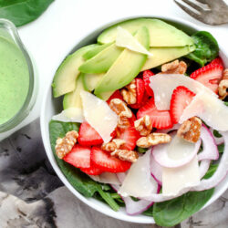Spinach Salad with Basil Buttermilk Dressing